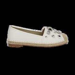 Espadrillas bianche in eco-pelle con gemme, Saldi Estivi, 134921159EPBIAN036, 001 preview