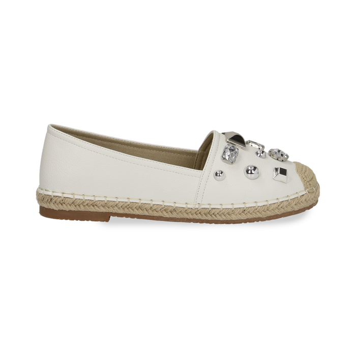 Espadrillas bianche in eco-pelle con gemme, Saldi Estivi, 134921159EPBIAN036