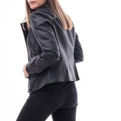 Biker jacket nera in eco-pelle, Abbigliamento, 146501883EPNERO, 002 preview
