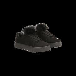 Sneakers nere con pon pon in eco-fur, Primadonna, 121081755MFNERO, 002 preview
