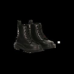 Anfibi neri con maxi-occhielli, tacco basso, Scarpe, 122808653EPNERO035, 002