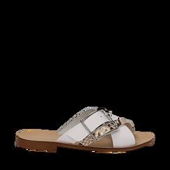 Mules bianche in vera pelle con dettagli snake skin, Primadonna, 133500088PEBIAN035, 001a
