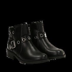 Biker boots neri in eco-pelle con oblò metallici, tacco 3 cm, Scarpe, 130619013EPNERO037, 002a