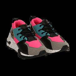 Sneakers fucsia in tessuto tecnico con dettagli leopard, zeppa 6,50 cm, Scarpe, 14D814201TSFUCS035, 002 preview