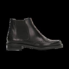 Chelsea Boots neri in vera pelle, tacco basso, Scarpe, 127717706PENERO, 001 preview