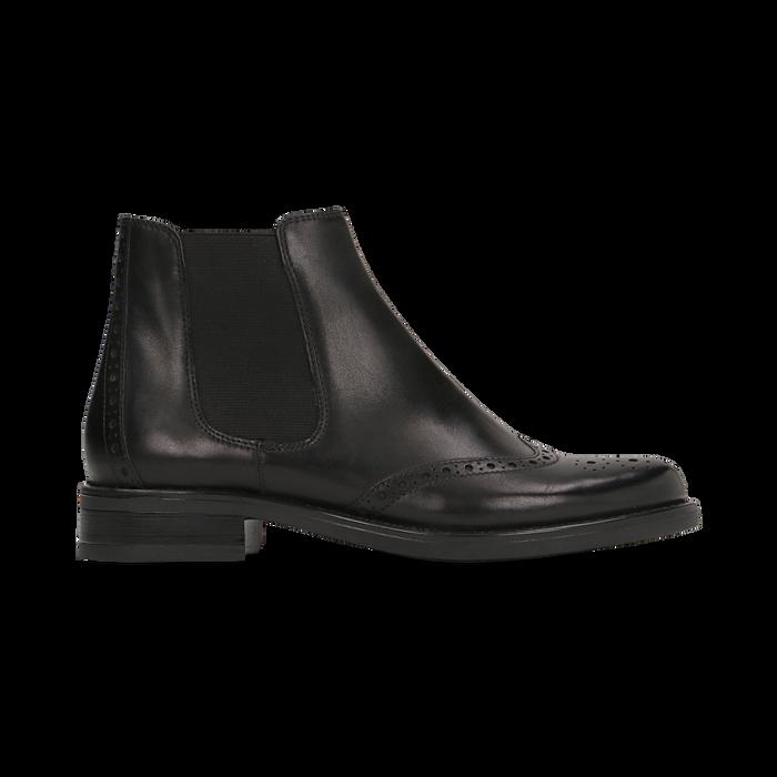 Chelsea Boots neri in vera pelle, tacco basso, Scarpe, 127717706PENERO