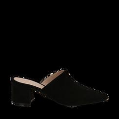 Mules nere in camoscio con punta affusolata, tacco 6 cm, Scarpe, 13D602204CMNERO036, 001a