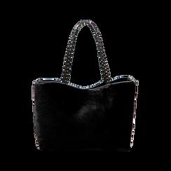Borsa shopper nera in pelliccia con pochette e portamonete, Borse, 125702076FUNEROUNI, 002 preview