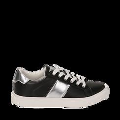 Sneakers nere in eco-pelle, Sneakers, 152619072EPNERO035, 001a