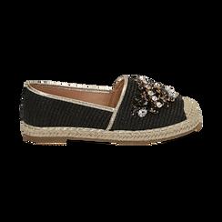 Espadrillas nere in rafia con pietre, Chaussures, 154902098RFNERO, 001 preview