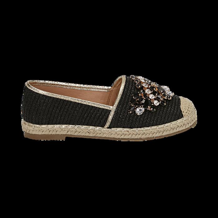 Espadrillas nere in rafia con pietre, Chaussures, 154902098RFNERO