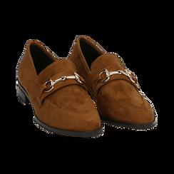 Mocassini cuoio in microfibra, Chaussures, 164964141MFCUOI041, 002 preview