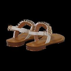 Sandali infradito bianchi in eco-pelle con catenella, Primadonna, 134988163EPBIAN, 004 preview