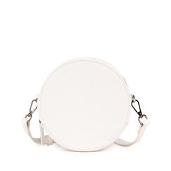 Bandolera redonda en eco-piel con estampado de cocodrilo color blanco, Bolsos, 155122784CCBIANUNI, 001a