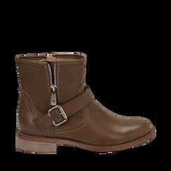 Biker boots taupe in eco-pelle con gambale traforato estensibile, tacco 3 cm, Scarpe, 130619015EPTAUP036, 001a
