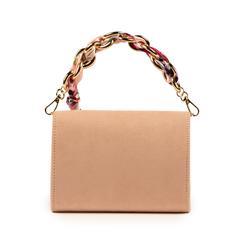 Mini bag nude in microfibra con manico foulard in raso, Primadonna, 155122756MFNUDEUNI, 003 preview
