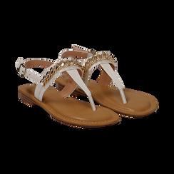 Sandali infradito bianchi in eco-pelle con catenella,