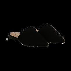 Mules flat nere in microfibra con punta affusolata, Scarpe, 134921861MFNERO036, 002 preview
