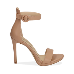 WOMEN SHOES SANDAL ECO-LEATHER NUDE, Chaussures, 152123343EPNUDE036, 001a