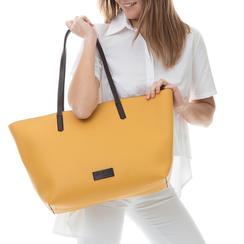 Maxi-bag gialla in eco-pelle con manici neri,