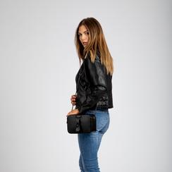 Camera bag nera con tracolla, ecopelle, Primadonna, 121818008EPNEROUNI, 004 preview