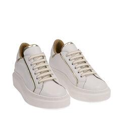 Baskets en cuir blanc/or, Primadonna, 17L600101PEBIOR035, 002a