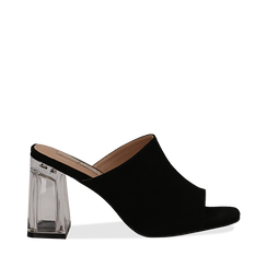 Mules nere in microfibra, tacco plexi 8 cm , Scarpe, 132708232MFNERO035, 001a