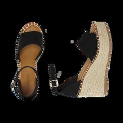Sandali neri in microfibra, zeppa 9 cm , Chaussures, 154907132MFNERO, 003 preview