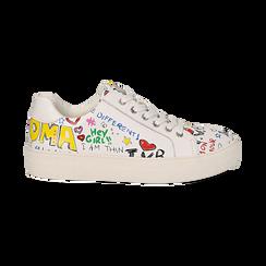 Sneakers bianche in eco-pelle con scritte cartoon , Scarpe, 139301164EPBIAN036, 001 preview
