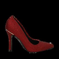 Décolleté rosse in glitter, tacco 11 cm , Scarpe, 142146861GLROSS035, 001a