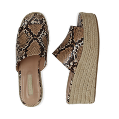 Zeppe platform beige in eco-pelle, effetto snake skin, zeppa in corda 7 cm, Primadonna, 132708151PTBEIG035, 003 preview