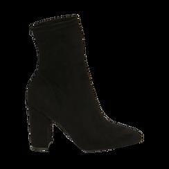 Ankle boots neri in microfibra, tacco 9,50 cm , Primadonna, 163026535MFNERO036, 001a