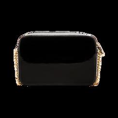 Camera bag nera con tracolla, ecopelle vernice, Primadonna, 121818008VENEROUNI, 002 preview