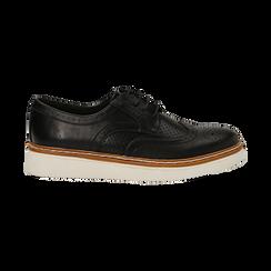 Stringate flatform nere in eco-pelle, Scarpe, 133009503EPNERO036, 001 preview