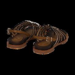 Sandali flat multilistino cuoio in eco-pelle, Saldi Estivi, 134441048EPCUOI036, 004 preview