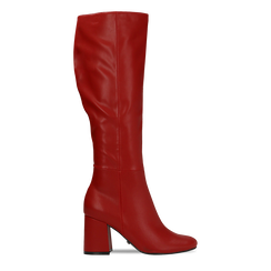 Stivali rossi punta arrotondata, tacco 7,5 cm, Scarpe, 122182011EPROSS, 001 preview