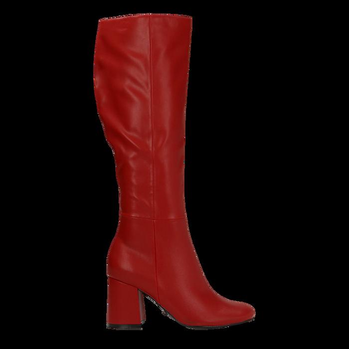 Stivali rossi punta arrotondata, tacco 7,5 cm, Scarpe, 122182011EPROSS