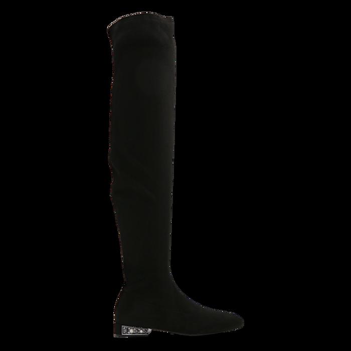 Stivali sopra il ginocchio flat con tacco gioiello, Primadonna, 124911281MFNERO038