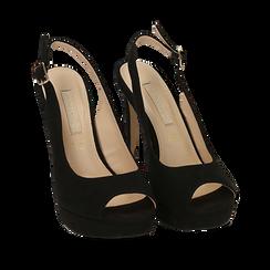 Slingback open-toe nere in microfibra, tacco 12 cm , Scarpe, 152182185MFNERO035, 002a