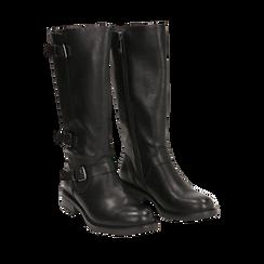 Biker boots con fibbie neri in eco-pelle, tacco 3,5 cm , Primadonna, 14A776168EPNERO035, 002a