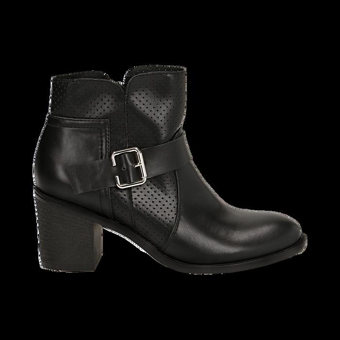 Ankle boots neri in eco-pelle con gambale traforato, tacco 7 cm, Scarpe, 130682987EPNERO037