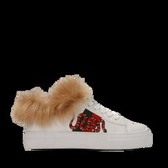 Sneakers bianche con ricami animalier e dettagli in faux-fur, Primadonna, 126102020EPBIAN035, 001a