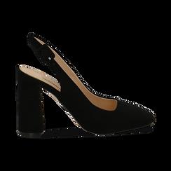Décolleté Slingback nere in microfibra con punta squadrata, tacco gioiello 9,5 cm, Scarpe, 132186832MFNERO035, 001 preview