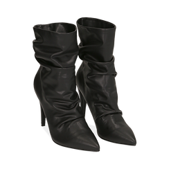 Ankle boots drappeggiati neri in eco-pelle, tacco 10 cm , Stivaletti, 142152925EPNERO036, 002 preview