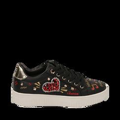 Sneakers nere in eco-pelle con pietre e stampe cartoon, Sneakers, 15E908470EPNERO035, 001a