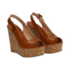 Sandali platform cuoio in eco-pelle, zeppa in sughero 12 cm , Primadonna, 134907982EPCUOI035, 002 preview