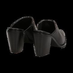 Mules nere in eco-pelle, tacco 8 cm , Scarpe, 142708158EPNERO036, 004 preview