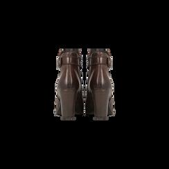 Tronchetti marroni in vera pelle con cinturino, tacco 6 cm, Scarpe, 127718308PEMARR, 003 preview