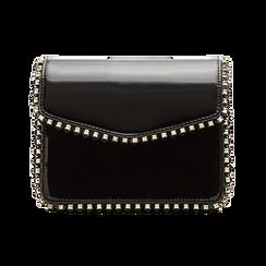 Pochette con tracolla nera in ecopelle vernice, profili mini-borchie, Primadonna, 123308852VENEROUNI, 001 preview