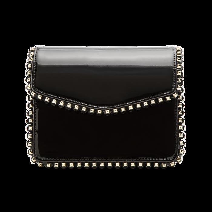 Pochette con tracolla nera in ecopelle vernice, profili mini-borchie, Primadonna, 123308852VENEROUNI